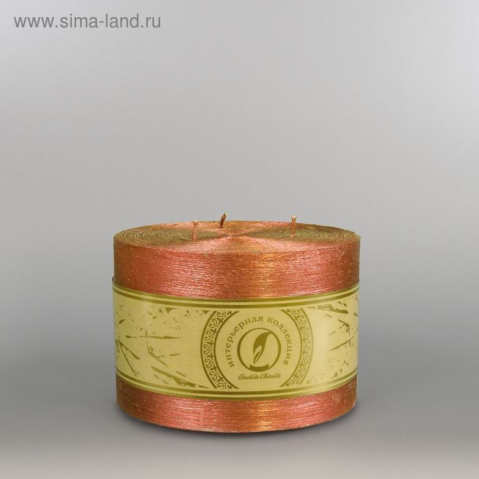 "Свеча цилиндр ""Металлик"", 150x105мм,  3 фитиля бронза"