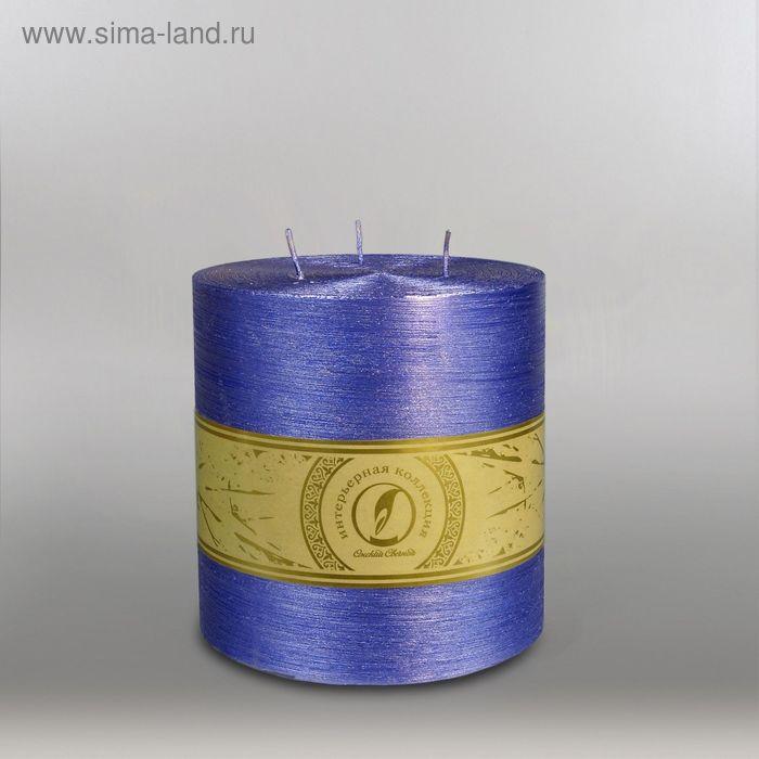 "Свеча цилиндр ""Металлик"", 150x150мм,  3 фитиля темно-фиолетовый"