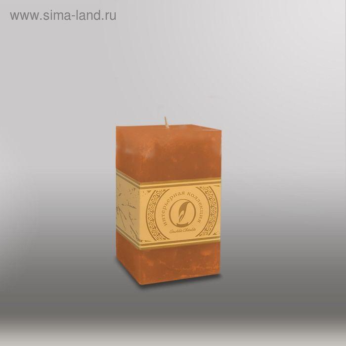 "Свеча квадратная призма ""Мрамор"", ""Металлик"", 75х75х125мм, мм,  коричневый"
