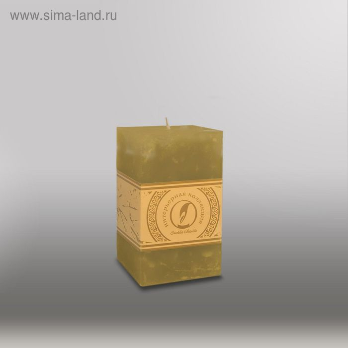 "Свеча квадратная призма ""Мрамор"", ""Металлик"", 75х75х125мм, мм,  оливковый"