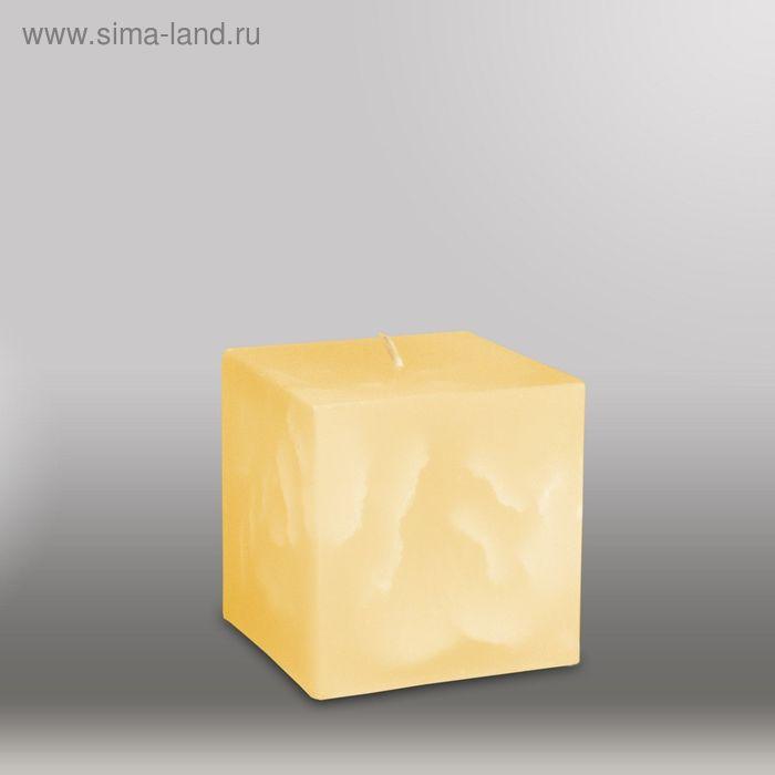 """Свеча куб """"Мрамор"""", 75мм,  желтый"""