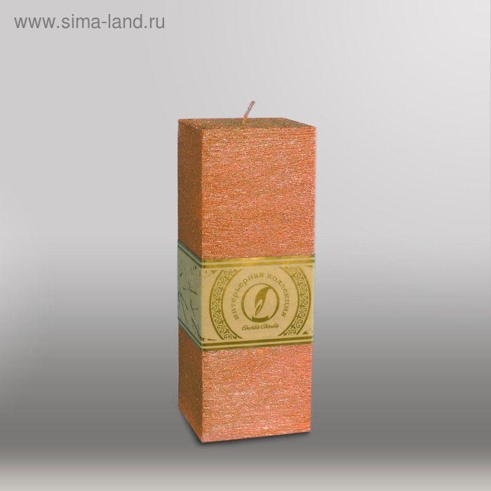 """Свеча квадратная призма """"Металлик"""", 75х75х205мм,  бронза"""