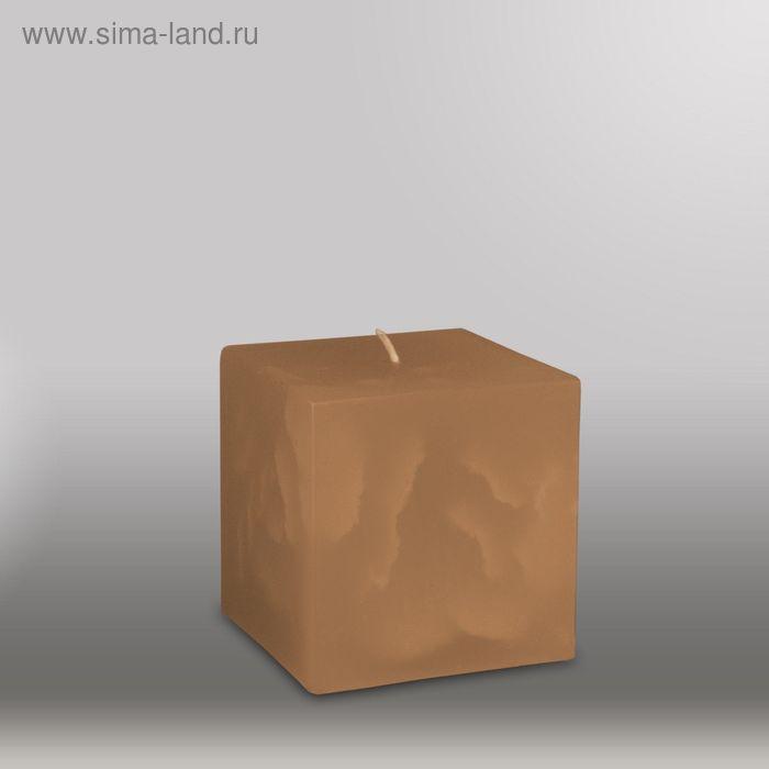 "Свеча куб ""Мрамор"", 75мм,  коричневый"