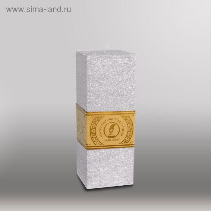 """Свеча квадратная призма """"Металлик"""", 75х75х205мм,  серебро"""
