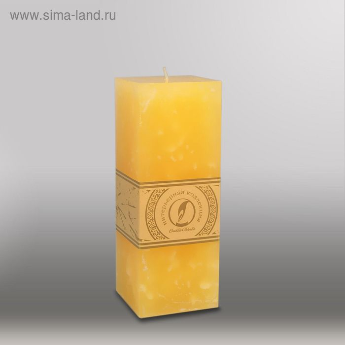 "Свеча квадратная призма ""Мрамор"", 75х75х205мм,  желтый"