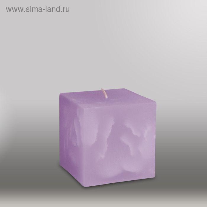"Свеча куб ""Мрамор"", 75мм,  сиреневый"