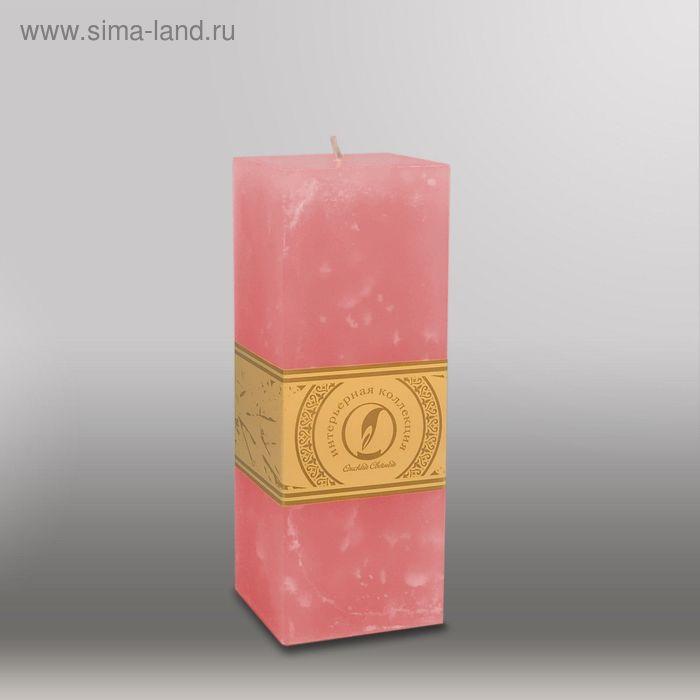 """Свеча квадратная призма """"Мрамор"""", 75х75х205мм,  розовый"""