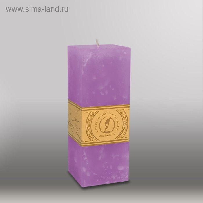 "Свеча квадратная призма ""Мрамор"", 75х75х205мм,  сиреневый"
