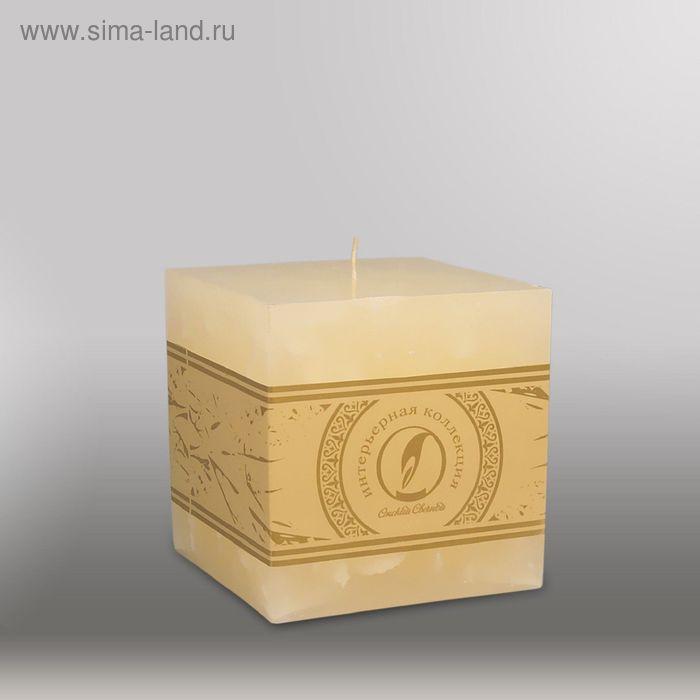 """Свеча куб """"Мрамор"""", 100мм,  кремовый"""