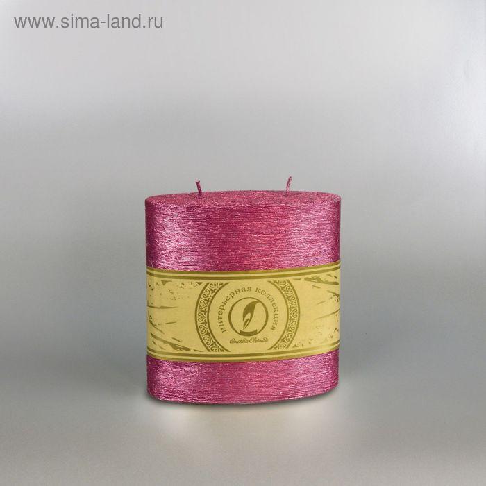 "Свеча овальная призма ""Металлик"", 125х62х125мм,  2 фитиля рубин"
