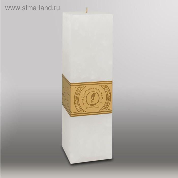 "Свеча квадратная призма ""Мрамор"", 75х75х250мм,  белый"