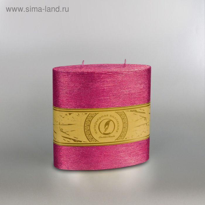 "Свеча овальная призма ""Металлик"", 150х75х150мм,  2 фитиля рубин"