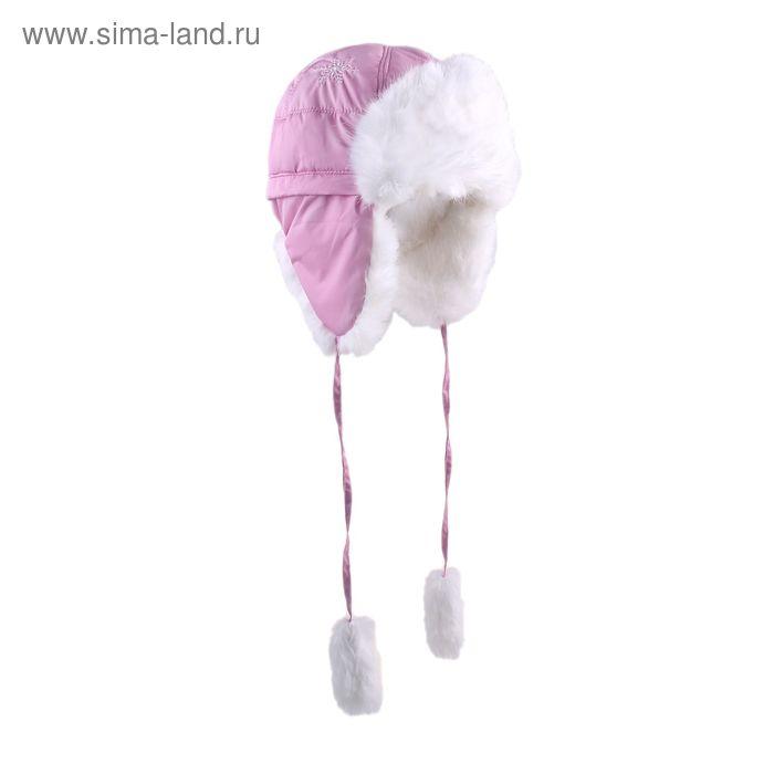 """Шапка для девочки """"Снежинка"""", размер 52, цвет розовый (арт. 81/2-00-13_Д)"""
