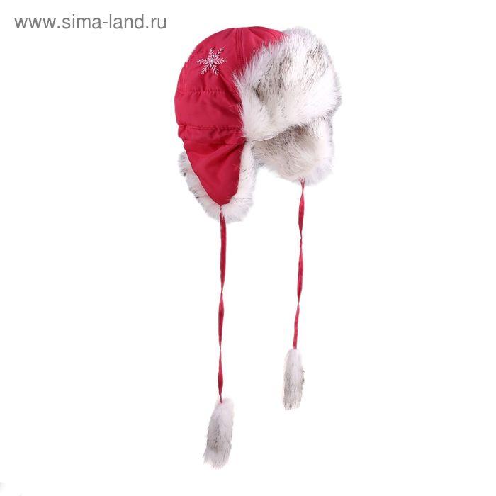 """Шапка для девочки """"Снежинка"""", размер 50, цвет брусничный (арт. 81/3-00-13_Д)"""