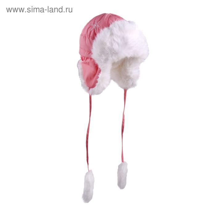 """Шапка для девочки """"Снежинка"""", размер 52, цвет коралловый (арт. 81/4-00-13_Д)"""