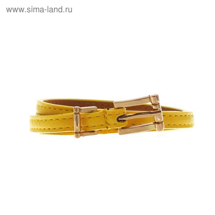 Ремень женский гладкий, пряжка, хомут под золото, ширина - 0,8см, жёлтый