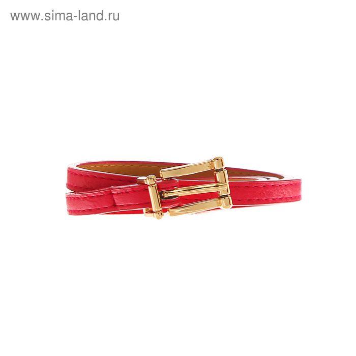 Ремень женский гладкий, пряжка, хомут под золото, ширина - 0,8см, цвет малиновый
