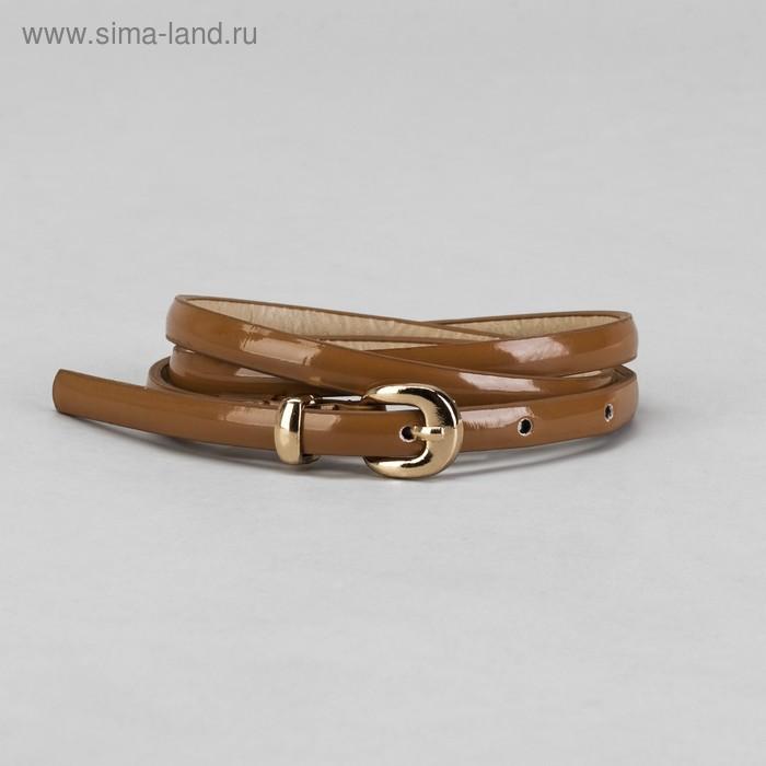 Ремень женский гладкий, пряжка, хомут под золото, ширина - 0,8см, коричневый