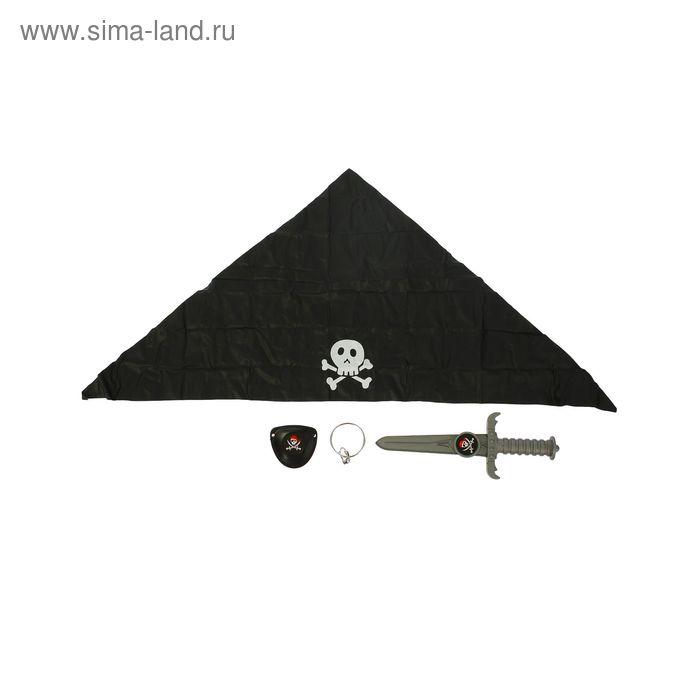 Набор пирата 4 предмета: наглазник, нож, серьга, бандана