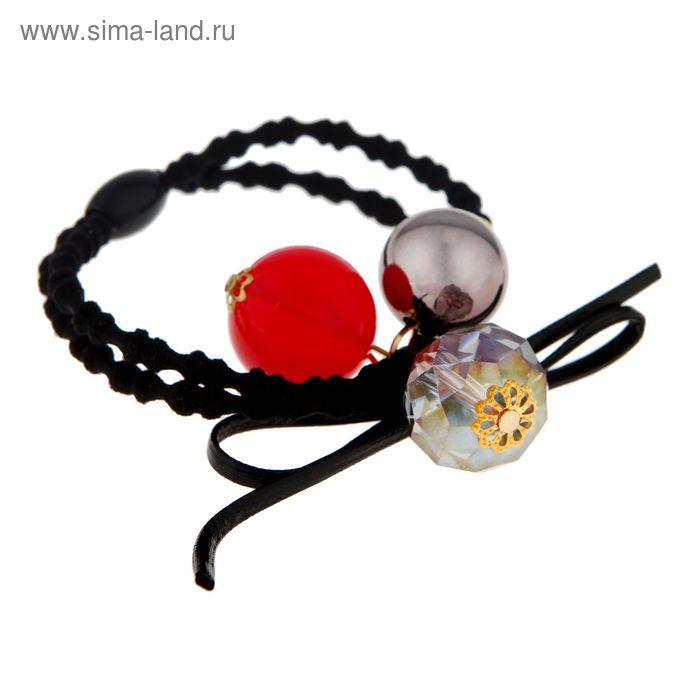 """Резинка для волос """"Богемия"""", шарики с кристаллом, глянец"""