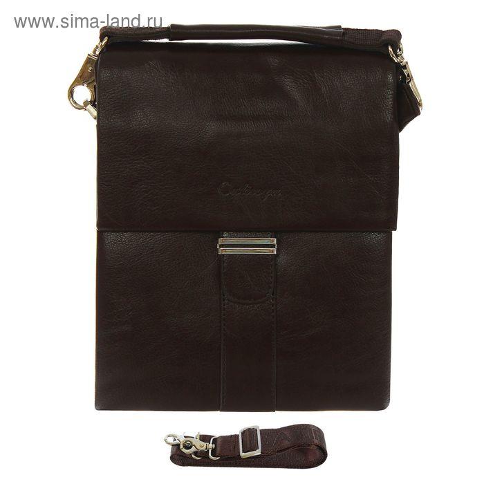 Планшет мужской, 5 отделов, 2 наружных кармана, регулируемый ремень, коричневый