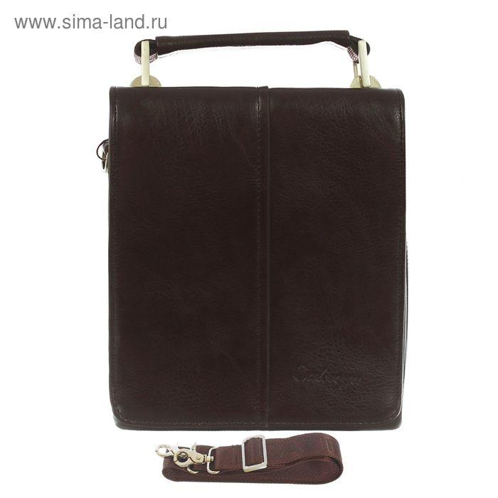 Сумка мужская, 5 отделов, 2 наружных кармана, длинный ремень, коричневый
