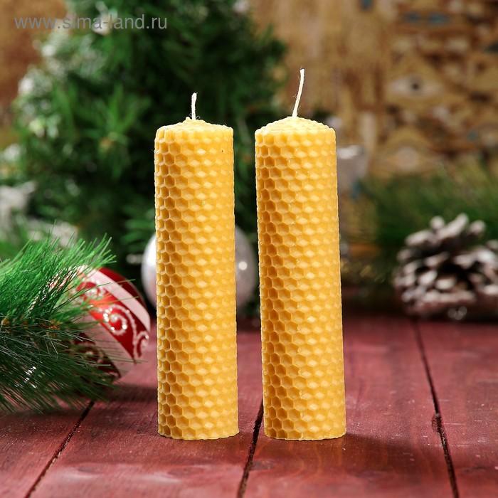 Свеча из вощины медовая 13 см, 2 шт Символ Года
