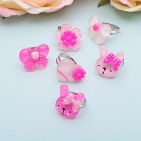 """Кольцо детское """"Выбражулька"""" розовое чудо, форма МИКС, цвет МИКС, безразмерное"""