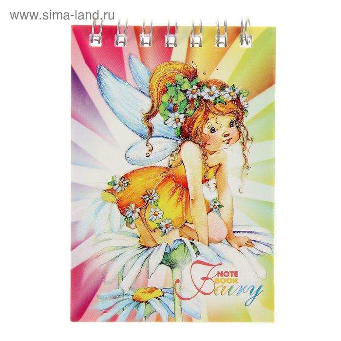 """Блокнот А7, 40 листов на гребне """"Цветочные феи"""", блёстки, микс"""