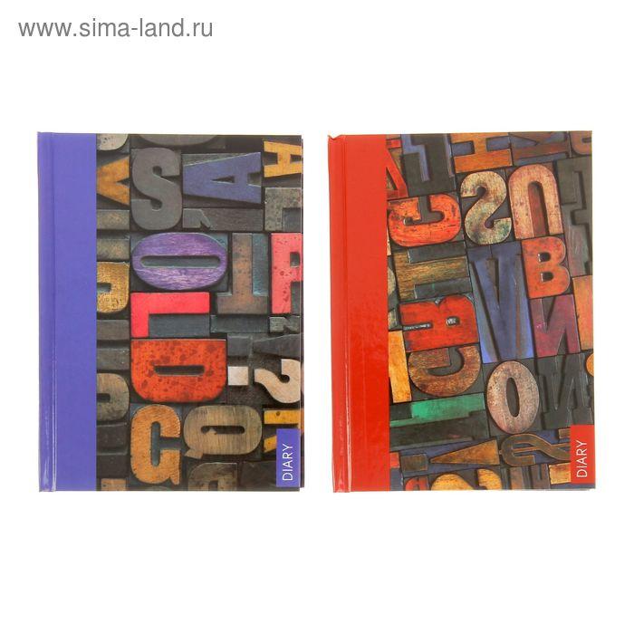 Ежедневник недатированный А6, 160 листов Wooden letters, твердая обложка, глянцевая ламинация, МИКС