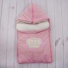 """Конверт меховой с капюшоном """"Корона"""", рост 68-74 см, цвет розовый К141"""