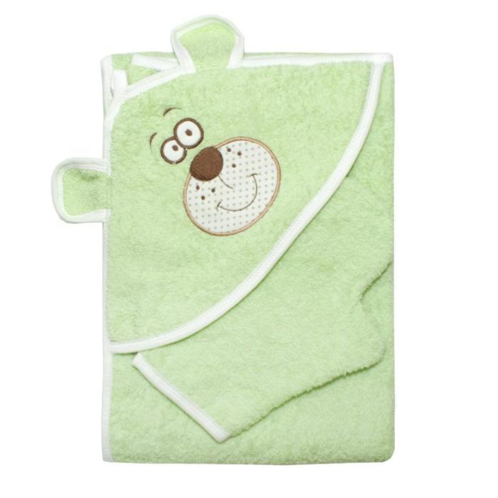 """Набор для купания (полотенце-уголок, рукавица) с вышивкой """"Мишка"""", размер 100х110 см, цвет зелёный (арт. К24/1)"""