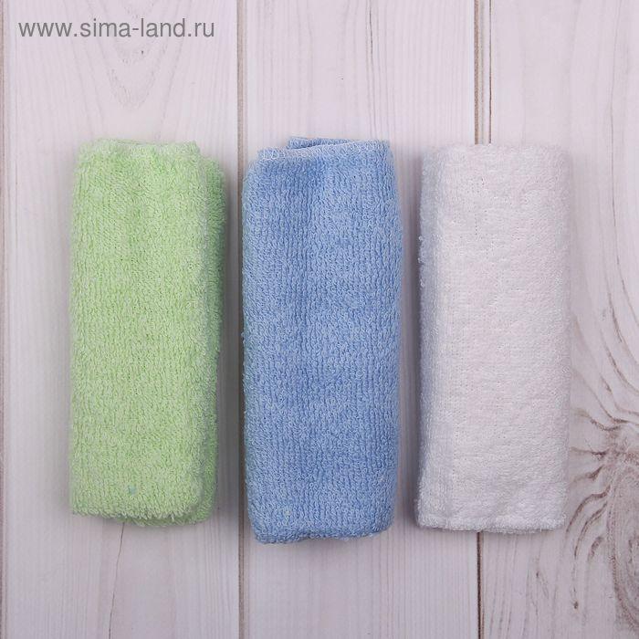 Набор махровых салфеток (5 шт.), размер 30*30 см, цвет микс (белый, голубой, зелёный) К52
