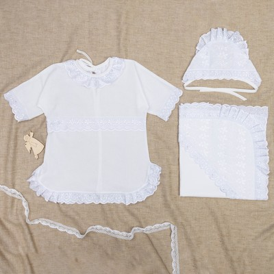 Набор крестильный для девочки (платье, чепчик, уголок 80*80 см), рост 68-74, цвет белый К2