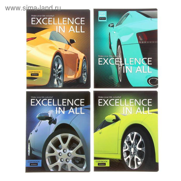 """Тетрадь 48 листов линейка """"Excellence"""", картонная обложка, МИКС"""