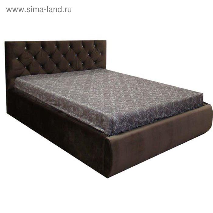 Кровать Валенсия 140 с орт. Основанием с подъем. Мех. С дном ЛДСП Коричневый велюр