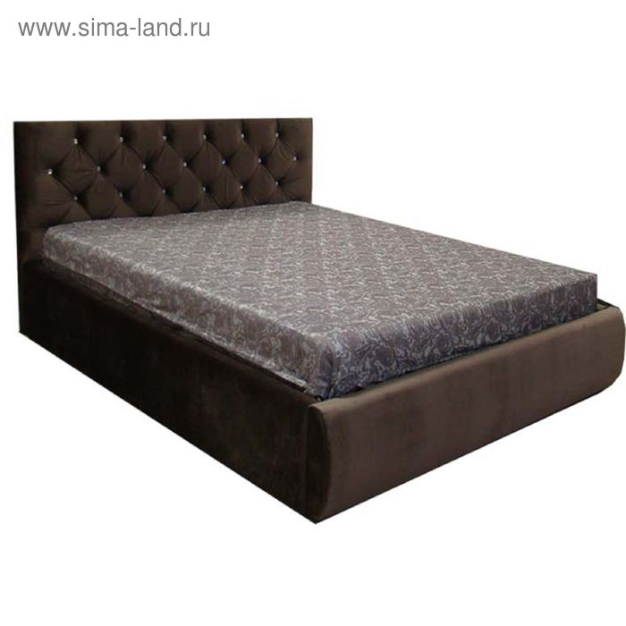Кровать Валенсия 160 с орт. Основанием с подъем. Мех. С дном ЛДСП Коричневый велюр