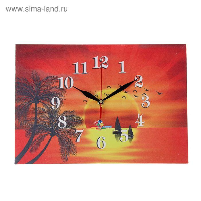 "Часы на холсте прямоугольные ""Закат на море"", 25х35 см"