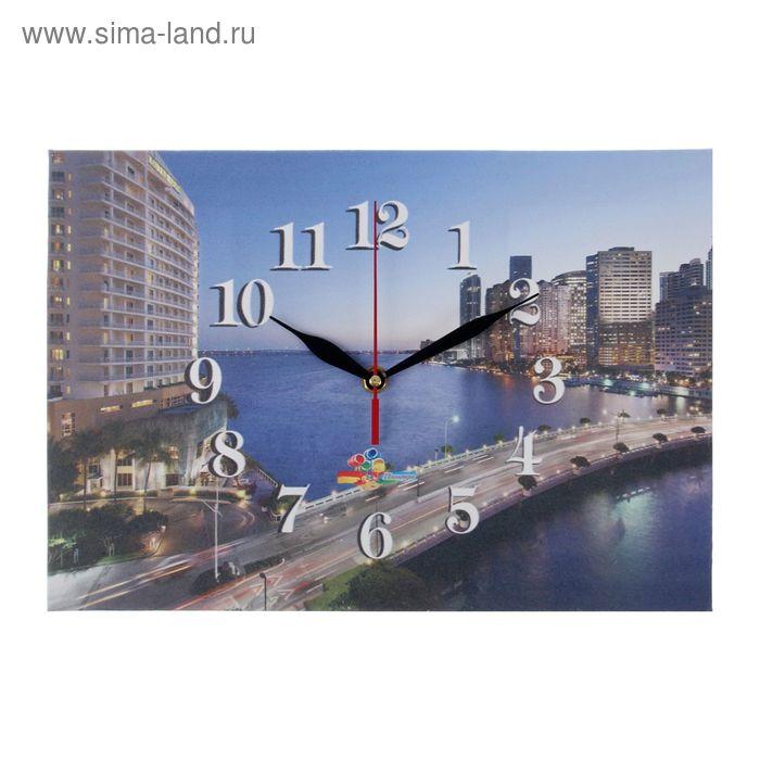 """Часы на холсте прямоугольные """"Мост"""", 25х35 см"""