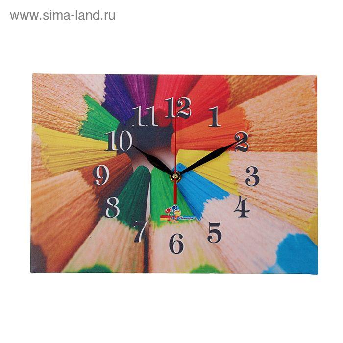 """Часы на холсте прямоугольные """"Цветные карандаши"""", 25х35 см"""