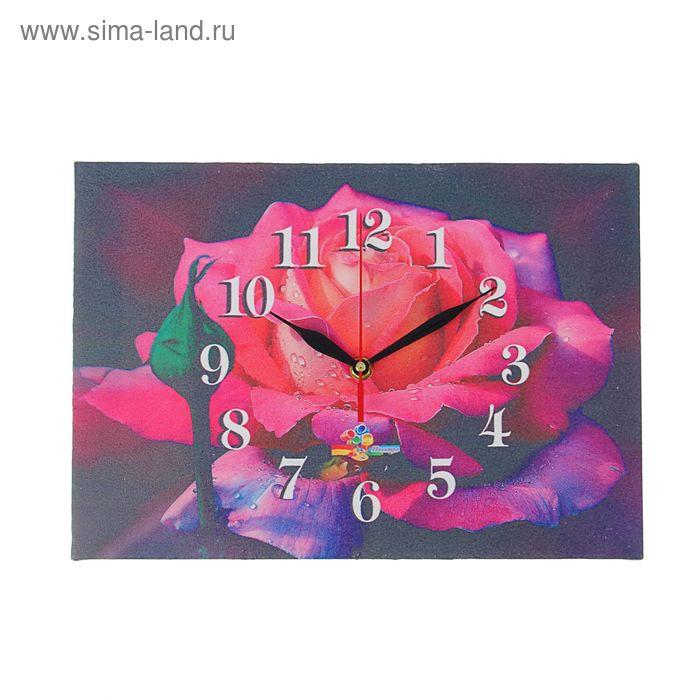 "Часы на холсте прямоугольные ""Розовая роза"", 25х35 см"