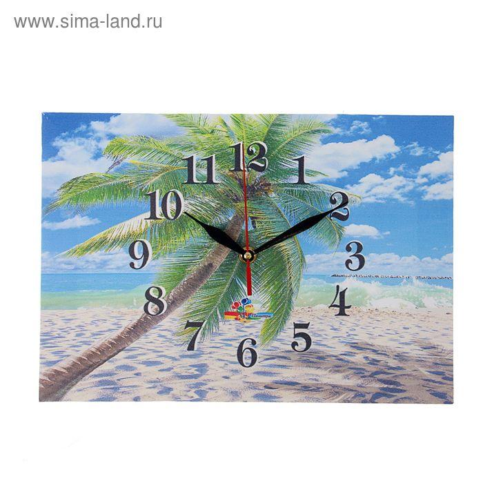 "Часы на холсте прямоугольные ""Пальма"", 25х35 см"