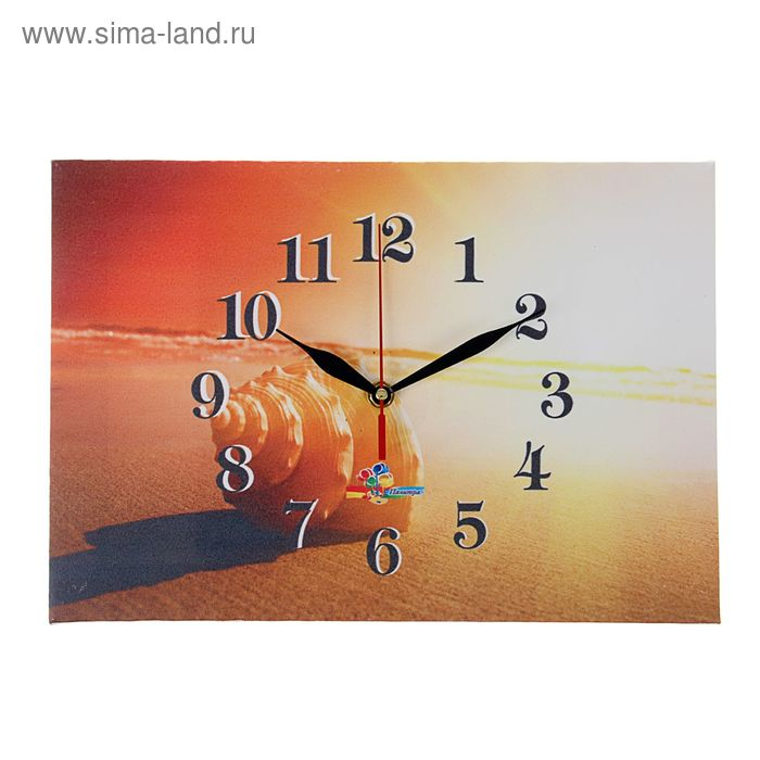 "Часы на холсте прямоугольные ""Ракушка на закате"", 25х35 см"