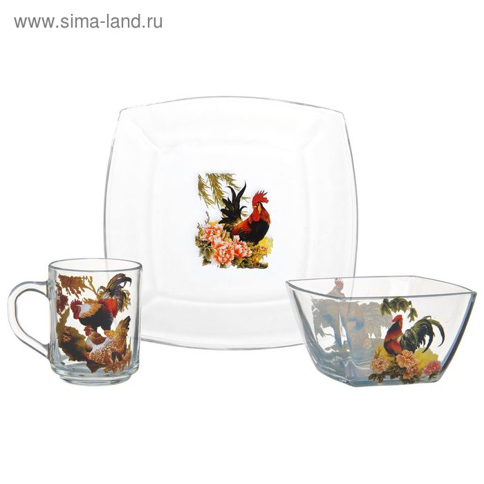 "Набор для завтрака ""Год петуха"", 3 предмета: тарелка d=19,5 см,салатник d=12,5 см, кружка 200 мл"
