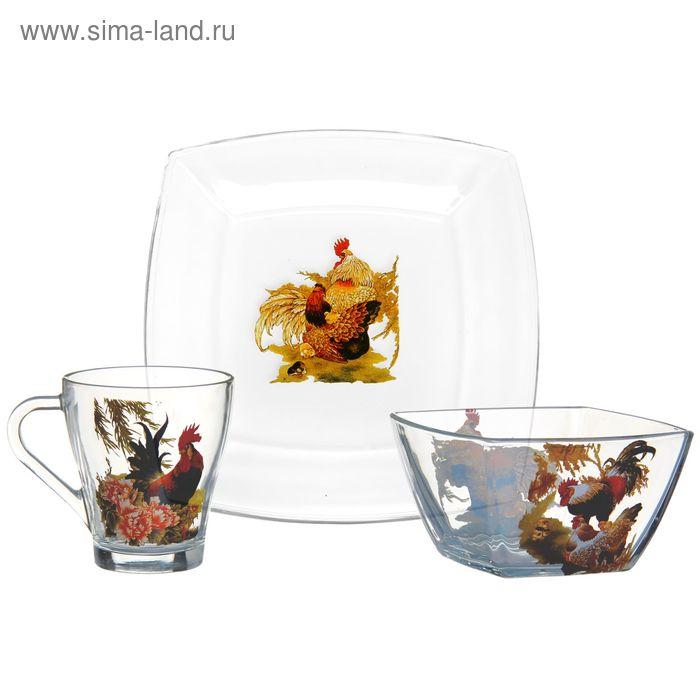 "Набор для завтрака ""Год петуха"", 3 предмета: тарелка d=19,5 см, салатник d=12,5 см, кружка 280 мл"