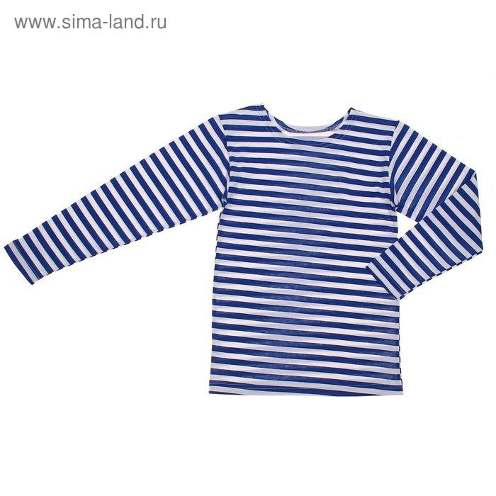 Фуфайка для мальчика, рост 140 см, цвет белый/васильковый с04-702-030_Д