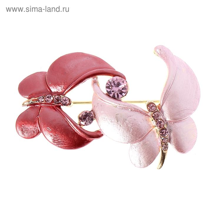 """Брошь """"Бабочки"""", цвет розовый в золоте"""