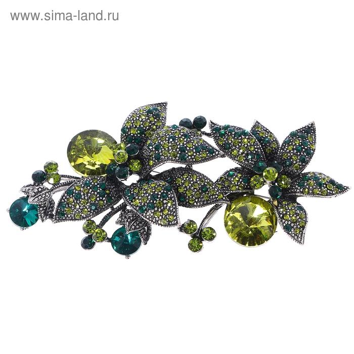 """Брошь """"Полянка"""", цвет зеленый в темном серебре"""