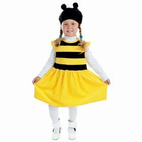 """Детский карнавальный костюм """"Пчёлка"""", велюр, платье, шапка, 1,5-3 г, рост 98 см"""