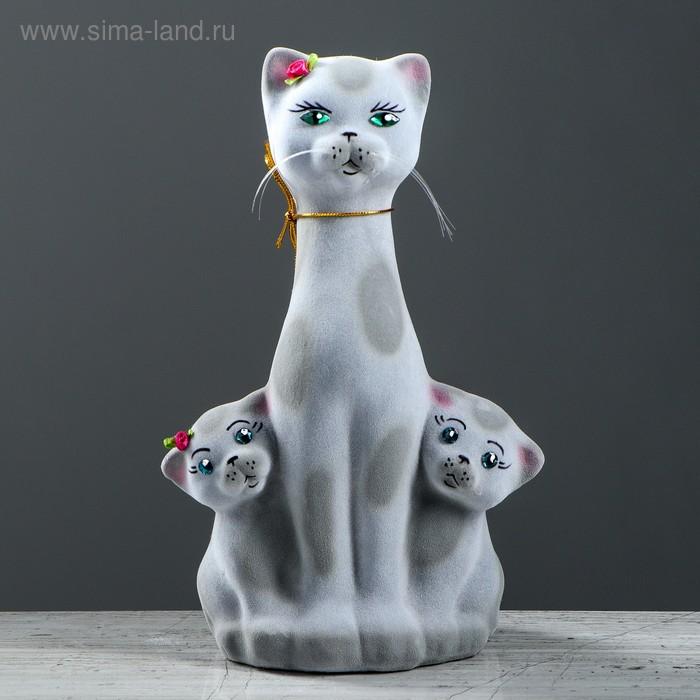 """Копилка """"Кошка с котятами"""" флок, серый леопард"""